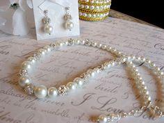 Swarovski Rhinestone and Pearl Bridal Necklace and by luminajewels, $38.00