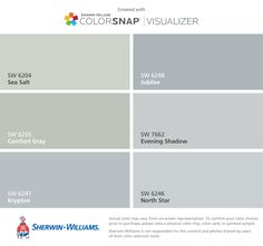 I found these colors with ColorSnap® Visualizer for iPhone by Sherwin-Williams: Sea Salt (SW 6204), Comfort Gray (SW 6205), Krypton (SW 6247), Jubilee (SW 6248), Evening Shadow (SW 7662), North Star (SW 6246).