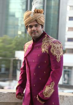 Buy Magenta Art Silk Readymade Dhoti Sherwani 204347 online at lowest price from our mens wear collection at Indianclothstore.com. Sherwani Groom, Mens Sherwani, Wedding Sherwani, Raw Silk Fabric, Indian Wedding Outfits, Patiala, How To Dye Fabric, Embroidered Silk, Menswear