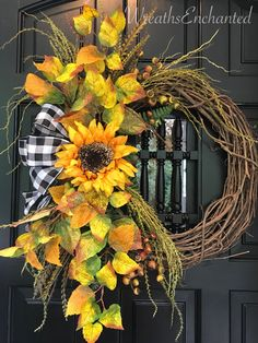 Excited to share this item with my # etsy store: Fall Wreath Rustic Wreath Free Sh … – Herbstdeko – Wreaths Deco Mesh Wreaths, Holiday Wreaths, Winter Wreaths, Spring Wreaths, Summer Wreath, Wreath Fall, Sunflower Wreaths, Floral Wreaths, Diy Wreath