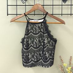 Charlotte Russe Lace Crop Top Black and cream crop top with lace overlay. Charlotte Russe Tops Crop Tops