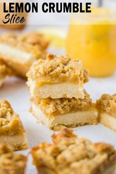 This Lemon Crumble Slice is zesty and bright and one of the most delicious lemon curd desserts. With a shortbread base and crunchy crumble topping, this lemon slice is easy to make too. World Cuisine Lemon Curd Dessert, Lemon Desserts, Easy Desserts, Brownie Recipes, Cookie Recipes, Dessert Recipes, Brownies, Citrus Recipes, Sweet Recipes