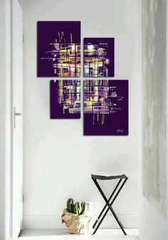 Purple painting - original purple abstract painting 4 piece canvas art large painting modern wall art for living room Purple Painting, Large Painting, Abstract Canvas, Canvas Art, Painting Abstract, Art Abstrait, Modern Wall Art, American Art, Painting Inspiration