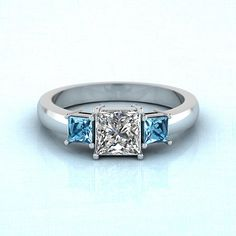 Squared Trio Ring || Princess Cut Diamond Three Stone Ring With Ice Blue Topaz In 14K White Gold