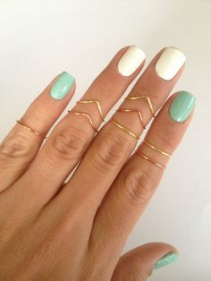 8 Gold and Copper, Chevron and Simple Band Midi Rings. Mid knuckle stacking rings to wear in many combinations!