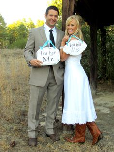 I'm His and I'm Hers pair wedding signs by SweetlySpokenShop, $32.00