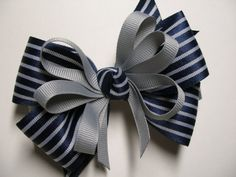 Back to School Dark NAVY Blue & Gray Hair Bow por HareBizBows