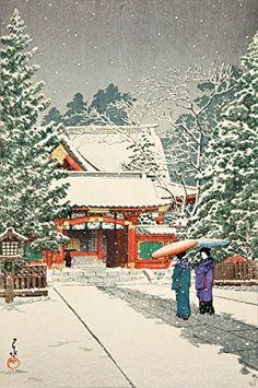 "Japanese Art Print ""Snow at Hie Shrine, New Years Day (Shato no Yuki Hie Jinja)"" by Kawase Hasui. Shin Hanga and Art Reproductions http://www.amazon.com/dp/B019DWFVL8/ref=cm_sw_r_pi_dp_Ag4dxb1NEGJ2Q"