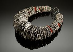 Myung URSO - 'Tide' necklace, cotton, oriental ink, acrylic paint, sterling silver, thread, lacquer 2009