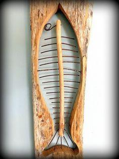 Fish Sculpture, Wood Sculpture, Scrap Wood Art, Rustic Wood Crafts, Driftwood Fish, Beach Wood, Nautical Art, Junk Art, Beach Crafts
