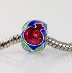 Sterling Silver European Bead Pomegranate on Blue. Judaica Jewelry  Kabbalah