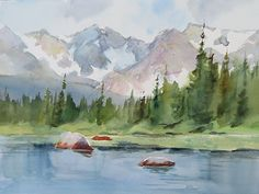 Red Rock Lake by Anita Winter - ART Watercolor Painting Watercolor Projects, Watercolor Landscape Paintings, Watercolor Techniques, Abstract Watercolor, Watercolour Painting, Landscape Art, Watercolours, Nature Sketch, Mountain Paintings