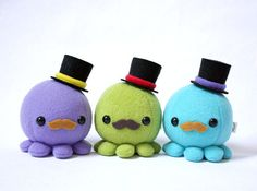 Bigote pulpo felpa w / Top Hat elegir colores por cheekandstitch
