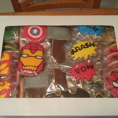 Super Hero cookies boxed up for special friends