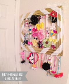 DIY hair bow and headband holder Kids Bedroom Organization, Diy Organization, Organizing Ideas, Organized Mom, Diy Headband, Headband Holders, Headbands, Bow Holders, Hair Bows
