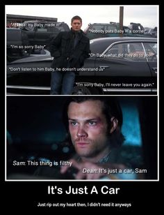 """Supernatural 10x2 """"Reichenbach"""" This scene was a cold dagger through my heart! I felt like the snowman on Frozen, Oh look at that, I've been impaled!"""