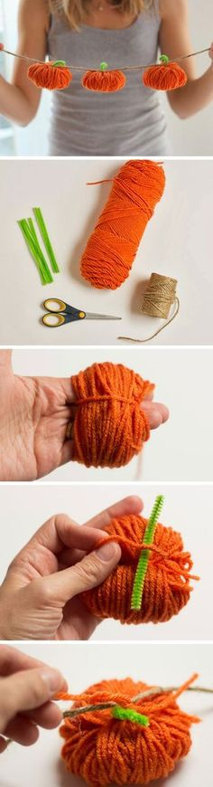 How stinkin' cute is this DIY yarn pumpkin garland? Add some Halloween spiri… How stinkin' cute is this DIY yarn pumpkin garland? Add some Halloween spirit to your home decor with this easy craft idea that can be used year… Continue reading → Kids Crafts, Easy Fall Crafts, Fall Crafts For Kids, Thanksgiving Crafts, Fall Diy, Holiday Crafts, Diy And Crafts, Arts And Crafts, Kids Diy