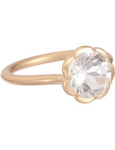 White topaz scalloped ring #engagement #ring