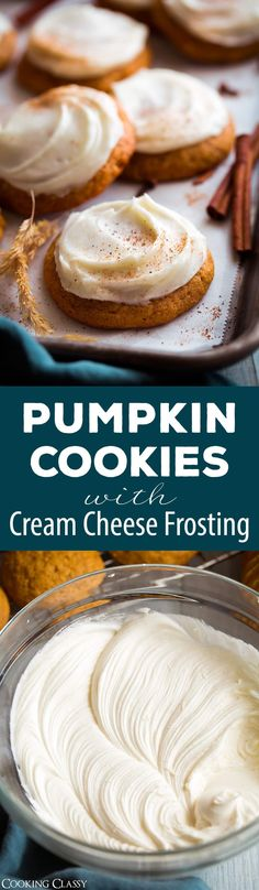 Pumpkin Cookies with Cream Cheese Frosting via @cookingclassy #pumpkin #pumpkincookies #fall #dessert