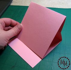 Easel Card Tutorial ~ by Michele at The Scrap Shoppe. 8 1/2 x 11 paper, lengthwise: score at 4 inches, then at 5 1/2. Score from the other end at 4 inches. Mountain fold the 4 inch folds and valley fold at the 5 1/2. Cut the paper to the width desired.