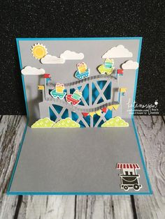 Roller Coaster card using Stampin Up Let the Good Times Roll & Thrill Ride Popup thinlits by Kate Morgan, Independent Demonstrator Australia open