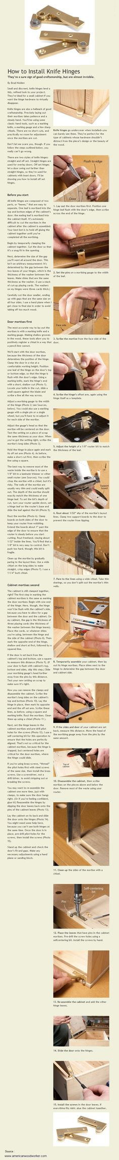 How to Install Knife Hinges Easy Woodworking Projects, Woodworking Jigs, Carpentry, Handyman Projects, Wood Shop Projects, Wood Joints, Got Wood, Hardware, Shop Storage