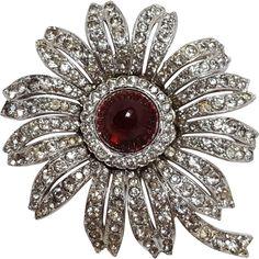 Trifari fur clip flower red glass cabochon