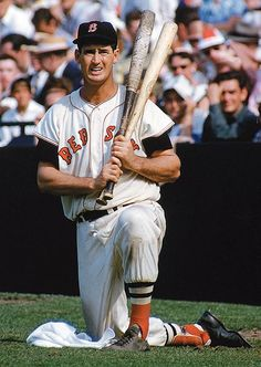 The legendary Ted Williams waits in the on-deck circle during a game against Detroit. 1955