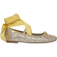 140cef3247 Chiara Ferragni Glitter-embellished leather ballet flats ($225) ❤ liked on  Polyvore featuring. Lace Up Ballet ...