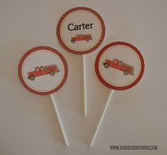 Vintage Fire Truck Cupcake Toppers  www.BabadooDesigns.com