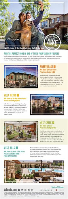 New Homes for Sale in Valencia, California  Discover the Perfect Home in Valencia  Brokers Welcome!  Come bring your clients to see RiverVillage, Villa Metro, West Creek, and West Hills.  http://valencia.com/