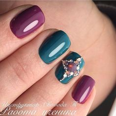 Bright manicure on short nails, Evening short nails, Fuchsia nails, Green polish nails ideas, Nails with rhinestones, Nails with rhinestones ideas, Short nails 2017, Square nails