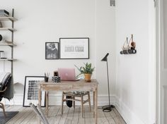 my scandinavian home: A serene space with a fab bed nook Small Workspace, Office Workspace, Home Office, Office Decor, Workspace Inspiration, Interior Inspiration, Bed Nook, Simple Desk, Dream Decor