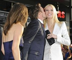 """This is PROBABLY one of my fav pics because it's so hilarious. Susan(Roberts wife) watches as he kisses Gwyneth ever so happily. And it's funny because you'd think """"ooooh gurrrl Susan should be pissssseeedd!"""" But she's just there like """"aw so cute!"""""""