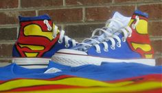 Superman Theme High Top Chuck Taylors by DunupApparel on Etsy, $159.99