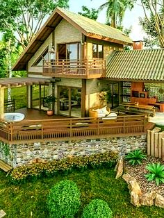 Village House Design, Village Houses, Tropical House Design, Affordable House Plans, Wooden Cottage, Old Florida, Cabin Design, Home Office Decor, New Homes