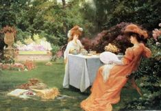 A Tea Party in the Garden by Alfred Oliver (1886-1921)