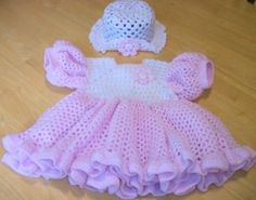 pink crochet baby dress with hat