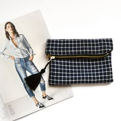 blue & white   plaid foldover makeup bag light by byAstridthelabel
