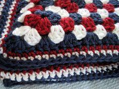 Crochet baby blanket red white blue granny square childs afghan patriotic handmade blanket on Etsy, £34.13