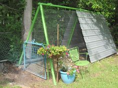 Finished chicken coop from old swing set
