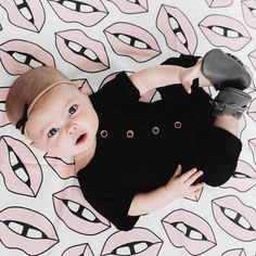 Such a cutie pie on her Pale Pink Lips Swaddle Blanket ✖️ #woolfwithme