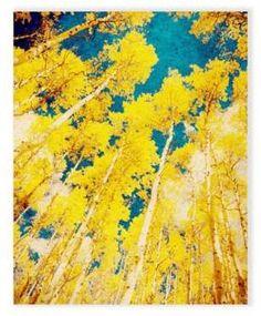 Astra Art 16-Inch x 20-Inch Golden Forest Canvas Wall Art. #yellow #yellowart #wallart #funkthishouse