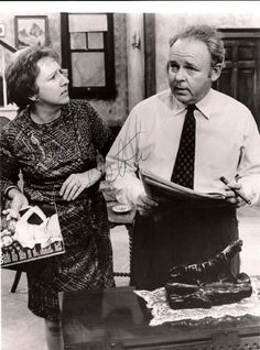 Jean Stapleton and Carroll O'Connor as Edith Bunker and Archie Bunker in All in the Family.