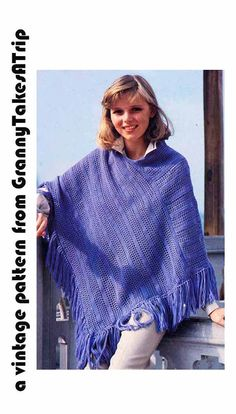 1970s Vintage CROCHET PONCHO PATTERN by GrannyTakesATrip on Etsy