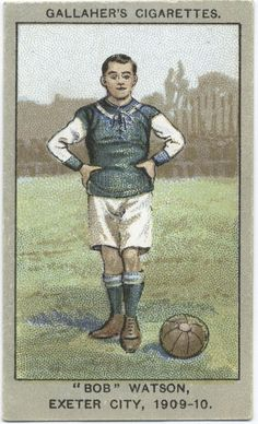 'Bob' Watson, Exeter City, From New York Public Library Digital Collections. Football Boots, Football Fans, Football Players, Sports Baseball, Baseball Cards, Soccer, Exeter City, Bristol Rovers, Association Football