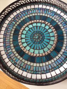 mosaic design bowl,handcrafted metal mosaic tray, mosaic art home decoration, glass mosaics tray teal blue glass mosaic door CapolavoriDiMosaico Mosaic Birdbath, Mosaic Tray, Sea Glass Mosaic, Mosaic Garden, Mosaic Tiles, Mosaics, Stained Glass, Pebble Mosaic, Mosaic Mirrors
