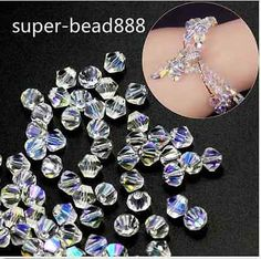 Free White AB 100pcs Bicone Crystal Glass Loose Spacer Bead Jewelry Making 4-8mm