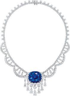 Ronald Abram – 88.88 carat Cushion Cut Madagascar Sapphire and Diamond Necklace