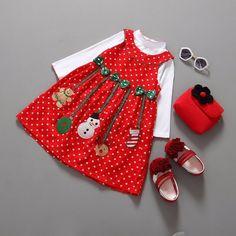 Belle Filles Santa Tenues Ensemble Robe DE Soirée Noël Robe Blanc Shirt Pull   eBay